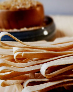 Hand rolled Fettuccine Whole Wheat & Semolina (Eggless)