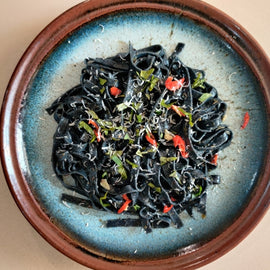 Pasta Nero - Fettuccine with Activated Charcoal (Eggless)