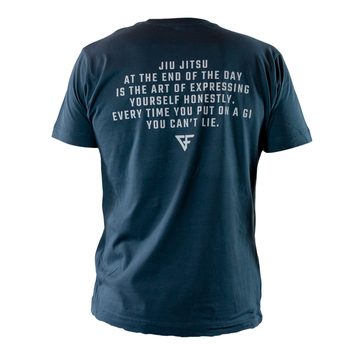 Ground Force Quote T-shirt At the end of the day back blue