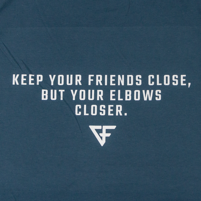 Ground Force Quote T-shirt Keep your friends close back blue closeup text