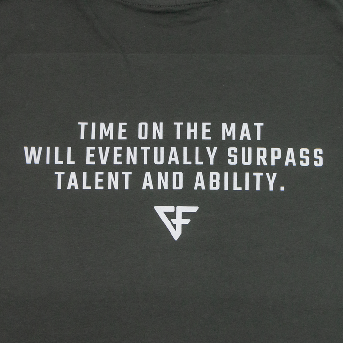 Ground Force Quote T-shirt Time on the mat back text grey green