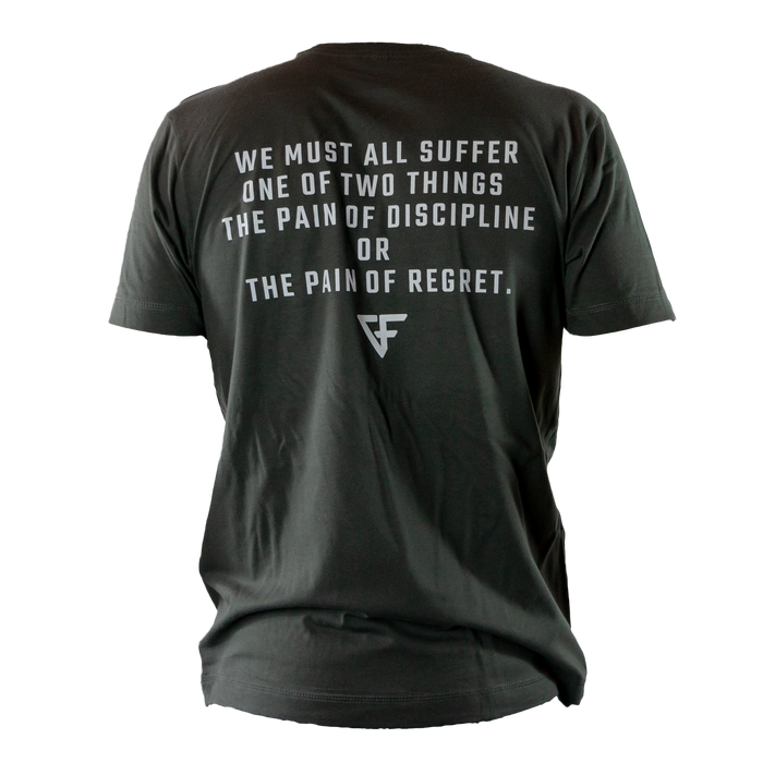 Ground Force Quote T-shirt We must all suffer back grey green