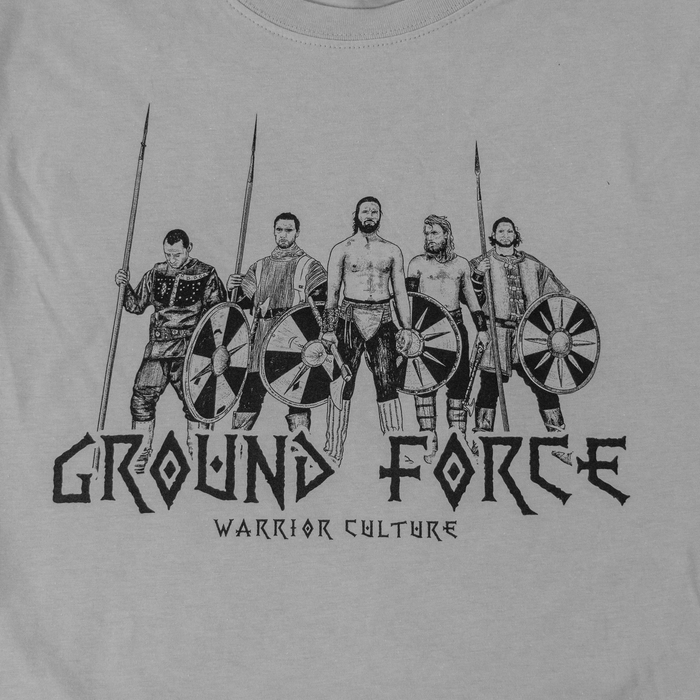Ground Force Warrior Culture T-shirt viking grey front picture print detail