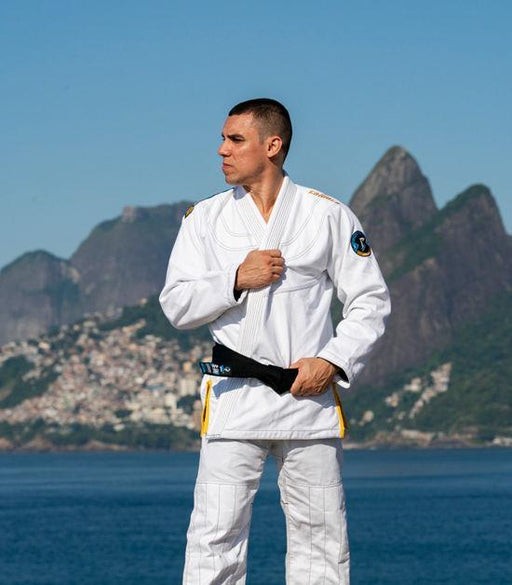 Front view of a Ground Game Carioca BJJ Gi White