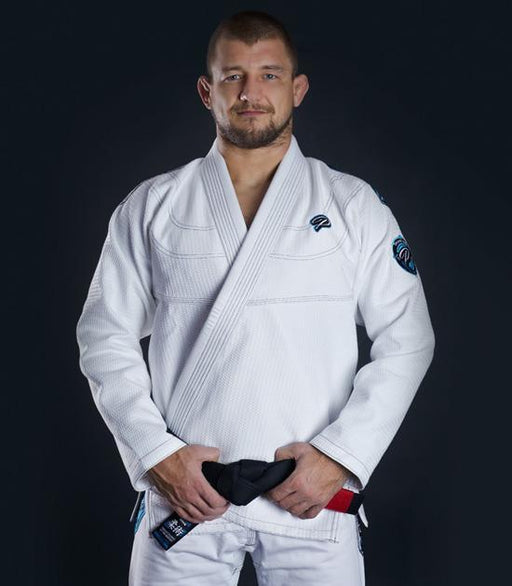 Front view of a Ground Game Player BJJ Gi White