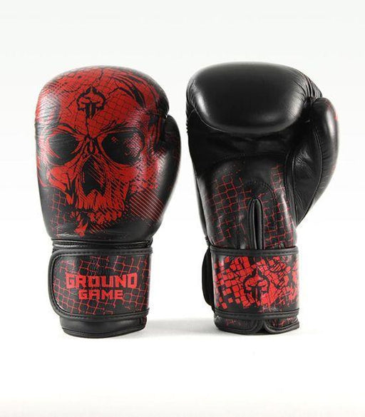 Front view of a Ground Game Red Skull Boxing Gloves PRO