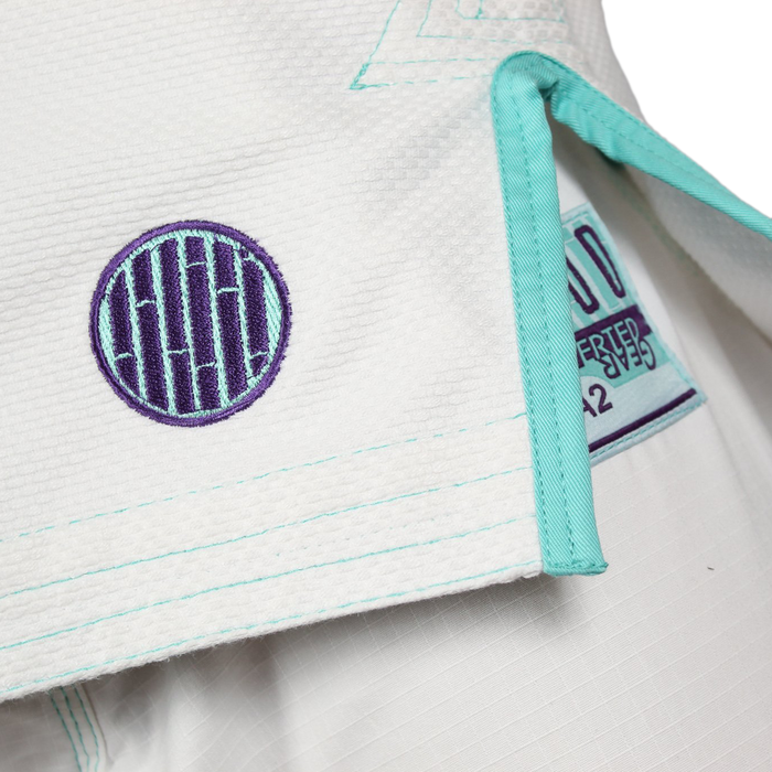 Inverted Gear Bamboo Gi bjj white front jacket logo detail