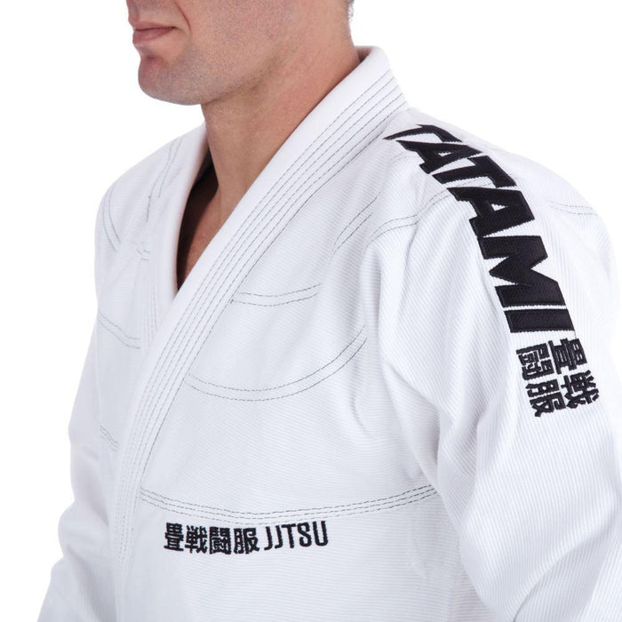 Tatami Essential BJJ Gi white front closeup jacket shoulder