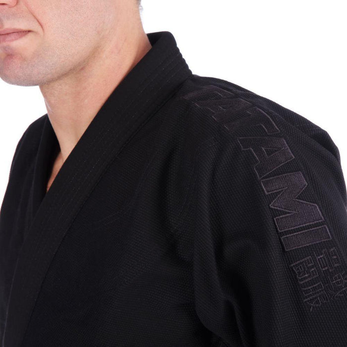 Tatami Essential BJJ Gi black side left jacket closeup