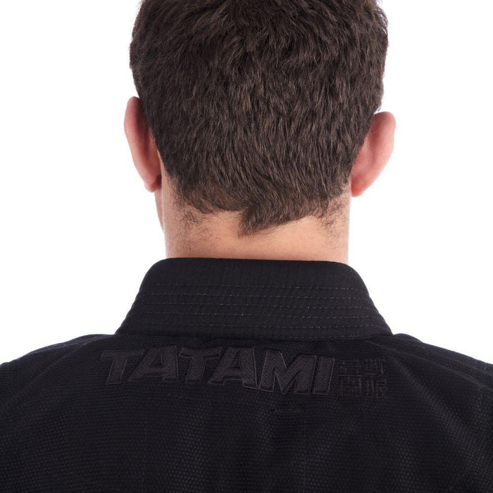 Tatami Essential BJJ Gi black back jacket closeup