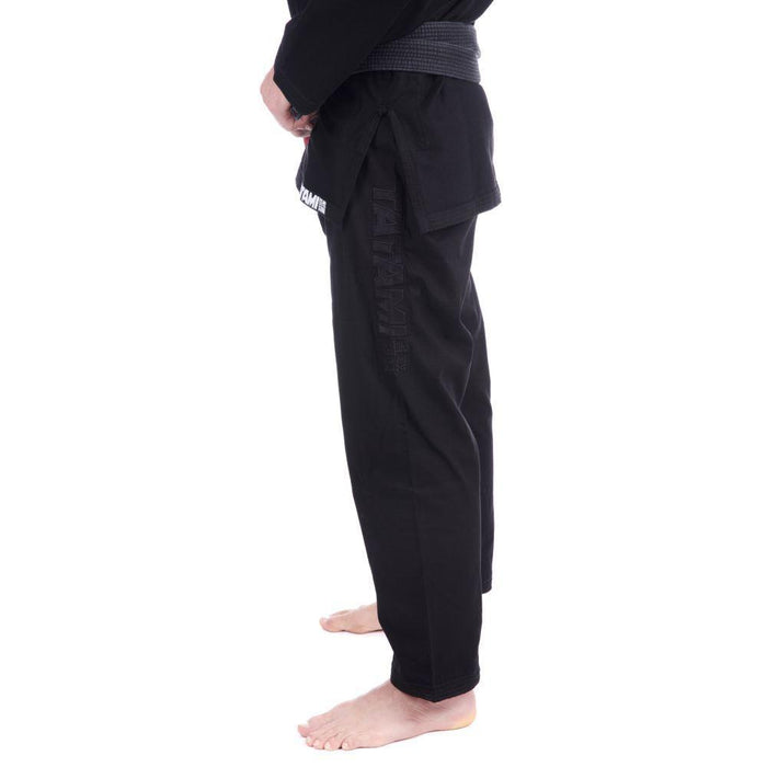Tatami Essential BJJ Gi black pants side left closeup