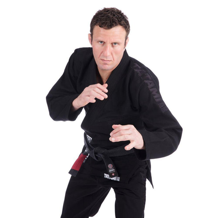Tatami Essential BJJ Gi black front closeup