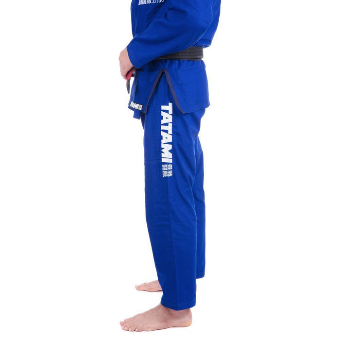 Tatami Essential BJJ Gi blue pants left closeup