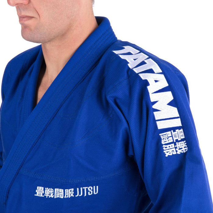 Tatami Essential BJJ Gi blue front closeup shoulder left logo