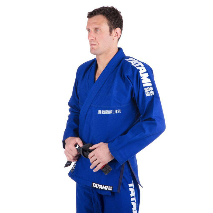 Tatami Essential BJJ Gi blue front closeup side left