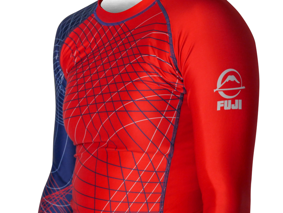 Fuji Americana Womens Rashguard Long Sleeve blue red front side left