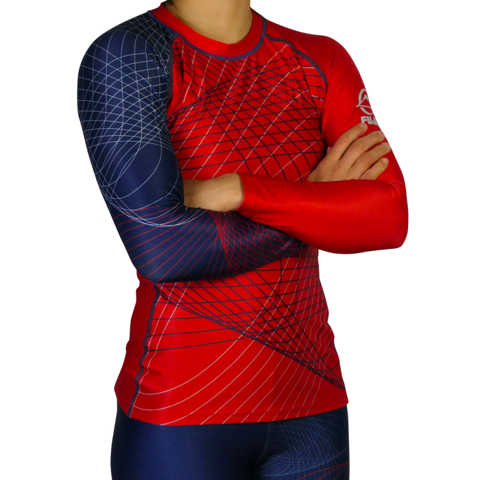 Fuji Americana Womens Rashguard Long Sleeve blue red front