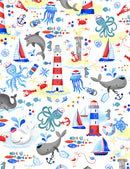 Whale Hello Nautical Scenic $15.96/Metre