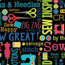 Sew Wordy Black Fabric $15.96 Metre
