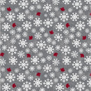 Canadian Christmas Snowflakes & Maple Leaves Grey $19.96/Metre
