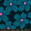 Crescent Floral Night Bloom Teal by Sarah Watts $16.96/Metre, Reduced to $13.96/M