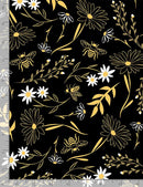BEE LARGE FLORALS  BLACK $18.40/metre