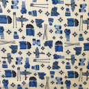 Kids Ski **FLANNEL White/Blue $9.56 Metre, REDUCED TO $6.00/M