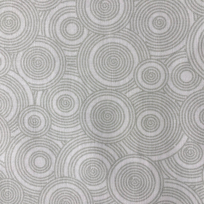 Tone on Tone White with Grey Green Circles $7.96 Metre