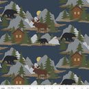 Cabin Fever Scene Navy **FLANNEL Fabric