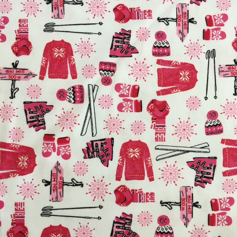 Kids Ski **FLANNEL White/Pink $9.56 Metre REDUCED to $6.00/M