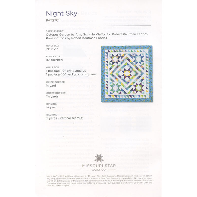 Night Sky Quilt Pattern by Missouri Star