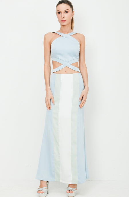 Cross Neck Cropped Maxi Dress with Cut Out