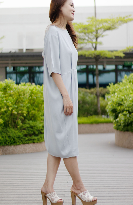 Oversized T-Shirt Silk Linen Pleat Dress