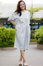 Load image into Gallery viewer, Oversized T-Shirt Silk Linen Pleat Dress