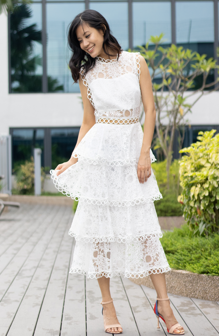 Wisteria Square Top Lace Tiered Dress