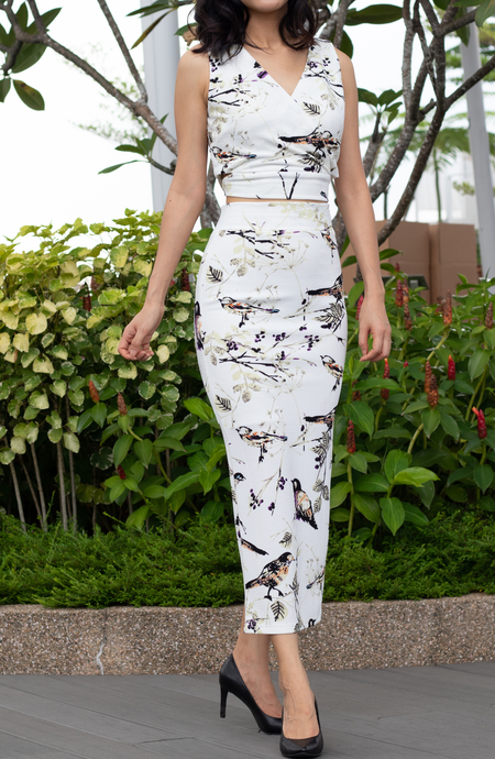 Evisa Floral High-Waisted Pencil Stretch Skirt