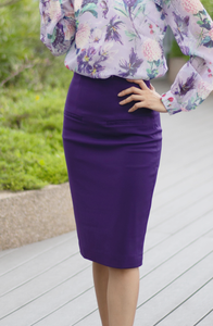 Lined Pockets High Waisted Pencil Skirt