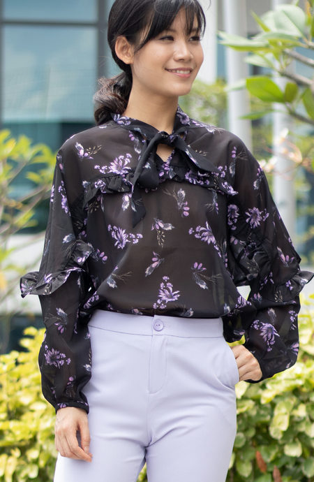 Evanca Floral Ruffle Tie Collar Blouse
