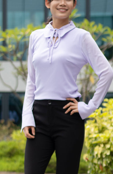 Lilac Tie Stretch Blouse