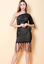 Load image into Gallery viewer, One Shoulder Lace Fringe Dress