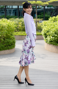 Lilac Floral Ruffle Skirt
