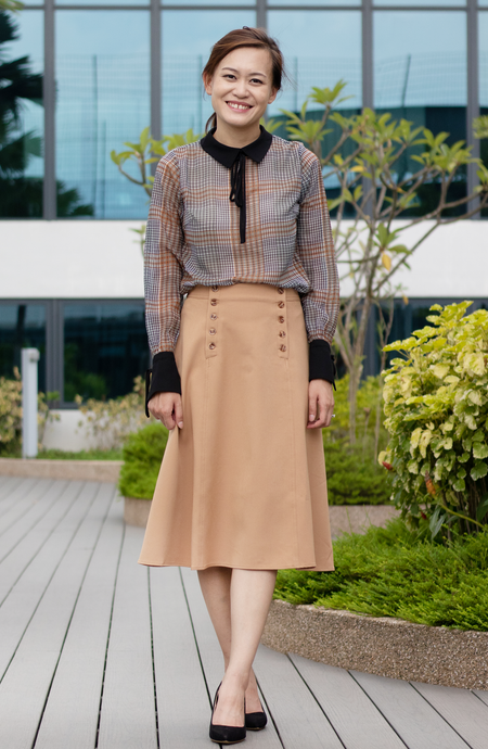 Double-Breast Camel Skirt