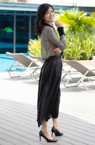 Metallic Lux Pleated Skirt