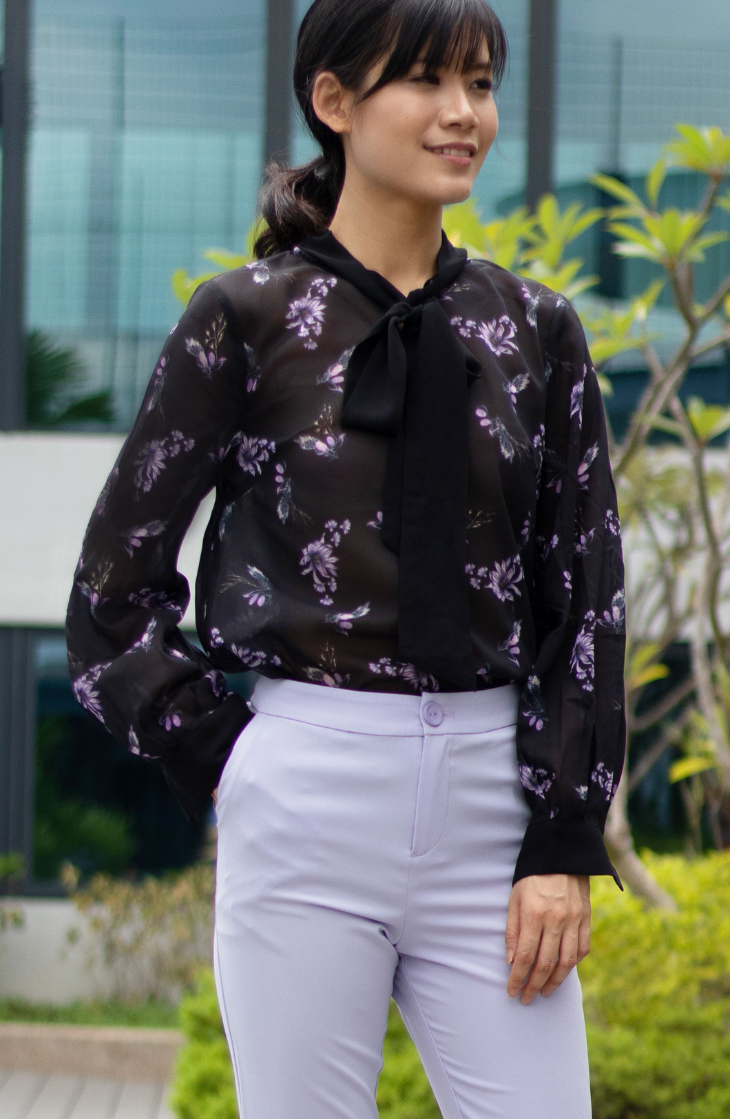Evanca Floral Ruffle Blouse with Tie