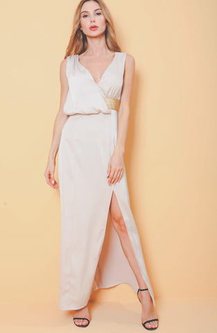 Rome Plunge Drape Slit Dress