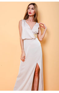 Romme Plunge Drape Slit Dress