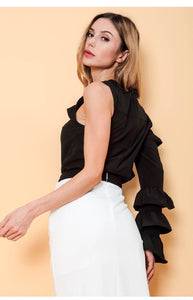 Freda One Shoulder Ruffle Top