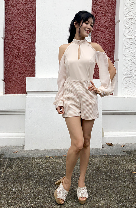 Lena Sheer Sleeves Romper