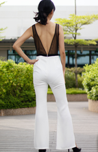 Load image into Gallery viewer, Keyhole with Mesh V-Back Jumpsuit