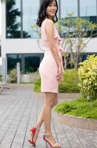 One Shoulder Tie Knot Fitted Dress
